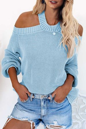 Sky Blue Cool Breeze Cotton Cold Shoulder Sweater